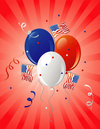 Illustration of patriotic party balloons and flags on a retro background.