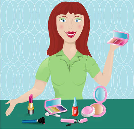Illustration of a cosmetic salesperson with various makeup