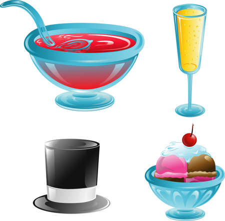 Illustrations of different party icons Stock Illustration - 3189655