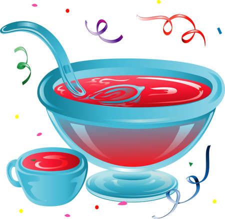 Illustration of a party punch bowl and confetti