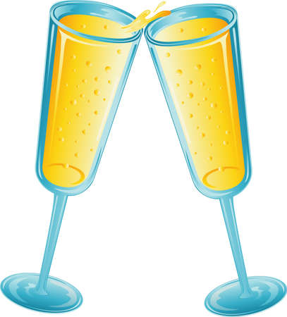 Illustration of two champagne glasses toasting. Stock Illustration - 3189656