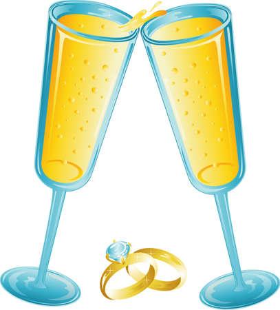 Illustration of two champagne glasses toasting. Stock Illustration - 3189661