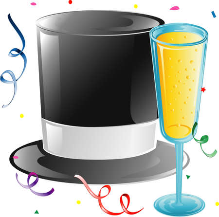 Illustration of a top hat, champagne and confetti. Stock Illustration - 3189660
