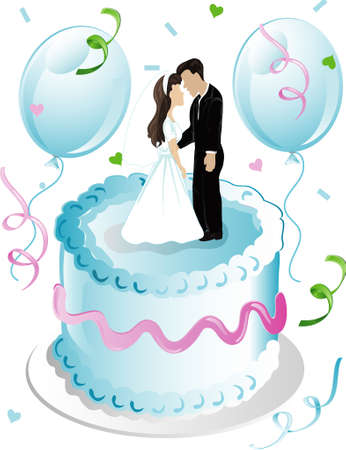 topper: Illustration of wedding cake and topper with balloons