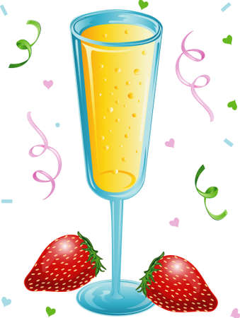 Illustration of a bubbly glass of champagne with strawberries and confetti Stock Illustration - 3234289
