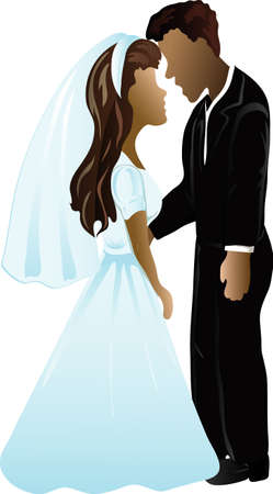 Illustration of a black wedding couple icon