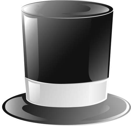 Illustration of a black and white top hat icon Stock Photo
