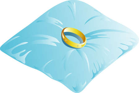 Ring bearer pillow with ring icon or symbol Stock Photo