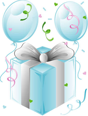 Illustration of a  present and balloons