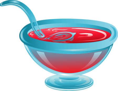Illustration of a bowl of red puunch for a  or party