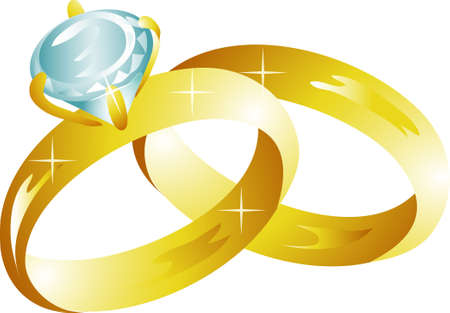 Illustration of two shiny wedding rings icon or symbol Фото со стока - 3234272