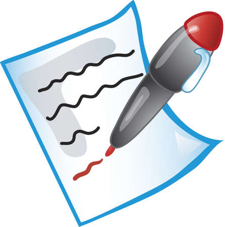 Icon of a red pen editing a paper