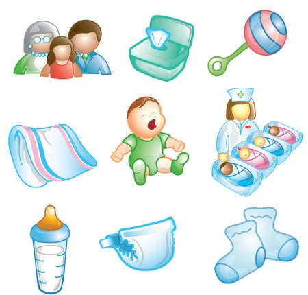 Icons of different baby and nursey items photo