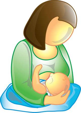 母親の母乳のアイコン彼女の赤ちゃん 写真素材