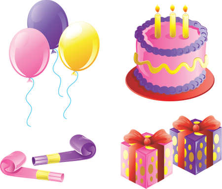 birthday party icons for a girls birthday Stock Photo