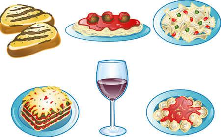 Illustration of various Italian food icons or symbols. Stock Photo