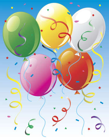 Illustration of balloons and confetti Imagens