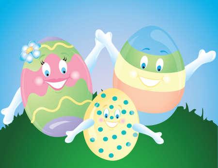 Illustration of an easter egg family Stock Photo