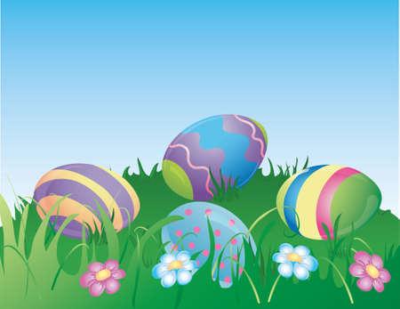 Illustratie van geverfd paashaas eieren verstoppen in het gras.