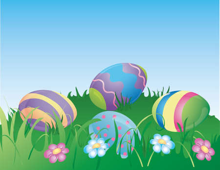 Illustration of  dyed easter eggs hiding in the grass. Stock Illustration - 4560666