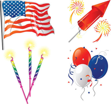 Illustrations of four icons for the fourth of July