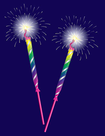 Illustration of two sparklers on a blue background Stock Photo