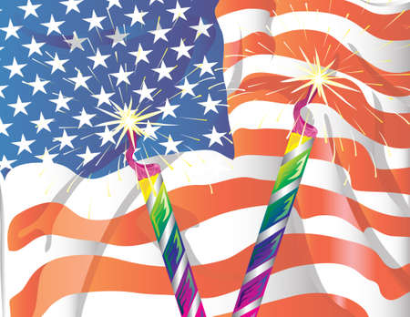 Illustration of two sparklers with an american flag in the background