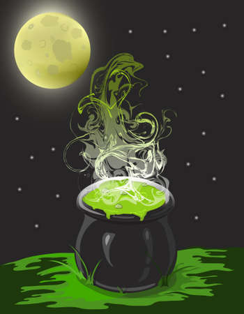 Illustration of a witche cauldron on a moonlit night