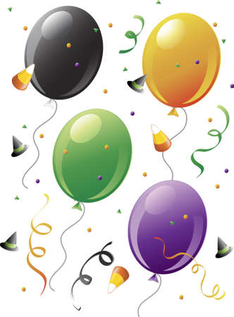 Illustration of balloons and halloween confetti