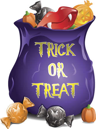 Illustration of different halloween candy in a treat bag