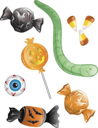 Illustration of different halloween candy Stock Photo