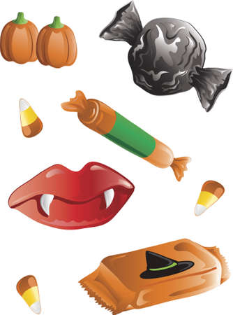 Illustration of different halloween candy illustration