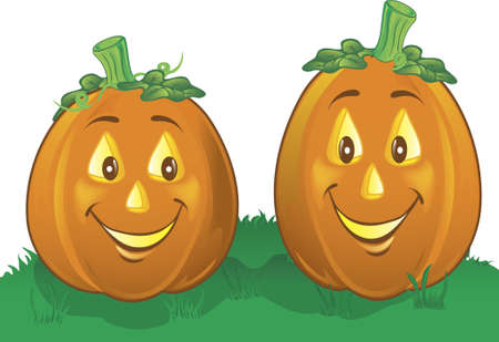 Illustration of two happy pumpkins in the grass Stock Photo
