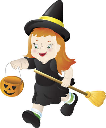 Illustration of a little girl dressed as a witch. Stock Photo