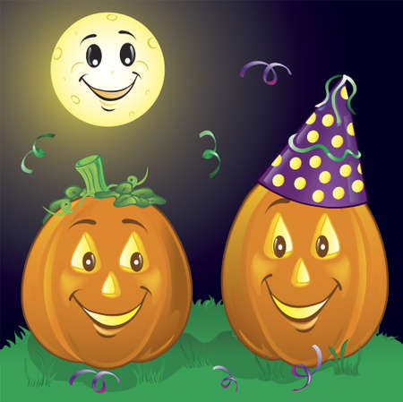 Illustration of two party pumpkins in the grass Stock Photo