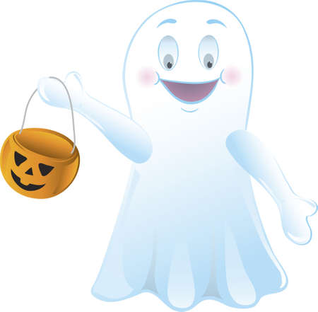 Illustration of a ghost with a pumpkin bucket Stock Photo