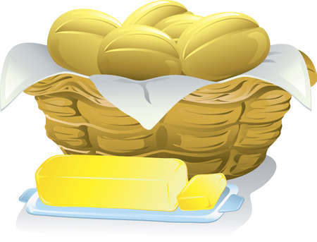 Illustration of a basket of bread rolls and a stick of butter