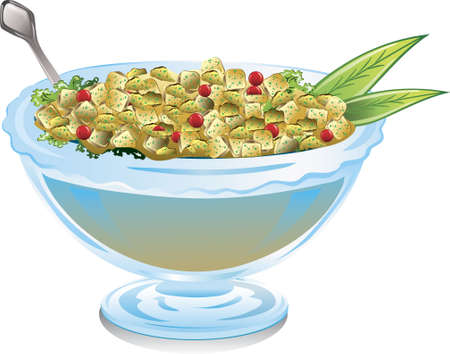 illustration of a bowl of cranberries and stuffing