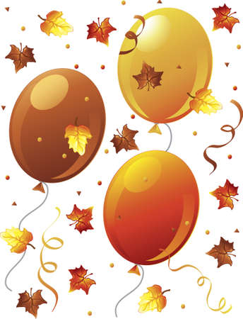 Illustration of fall balloons and leaves Stock Photo