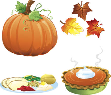 Illustration of different fall and autumn icons Stock Illustration - 5939760