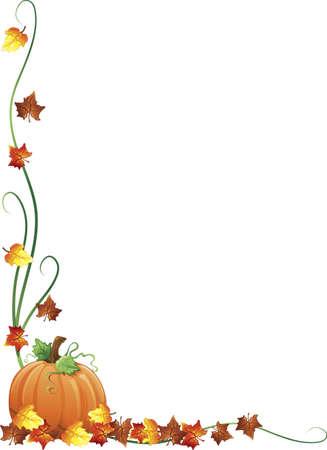 ボーダー設計として秋の紅葉とカボチャのイラスト