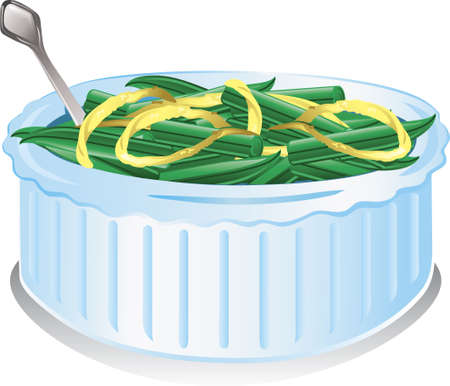 Illustration of a Green Bean Casserole with onions Stock Photo
