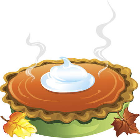 dollop: Illlustration of a hot homemade pumpkin pie with a dollop of whipped cream on top