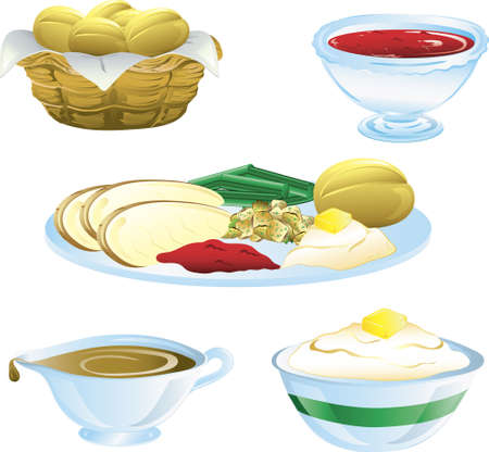 Illustrations of different thanksgiving icons Stock Illustration - 5939771
