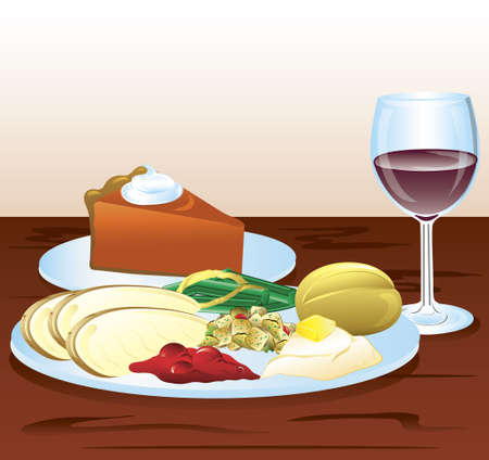 Illustration of a thanksgiving dinner with wine and pumpkin pie.