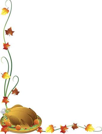 bordure vigne: Fronti�re de Thanksgiving avec une Turquie et de la chute des feuilles