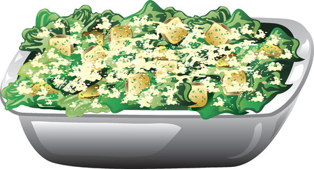Illustration of a caesar salad wth parmesean cheese and croutons.