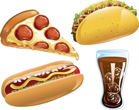ピザ、コーラ、ホットドッグ、タコスのイラスト