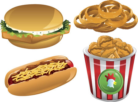 Illustration of a fish sandwich, onion rings, chili dog and a bucket of fried chicken