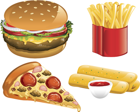 Illustration of a supreme pizza, cheeseburger, french fries, and breadsticks